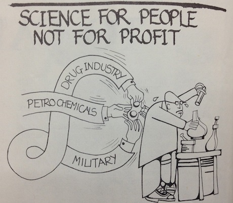 Image from issue 43 of //Science for People//, 1970s journal of British Society for Social Responsibility in Science (BSSRS).